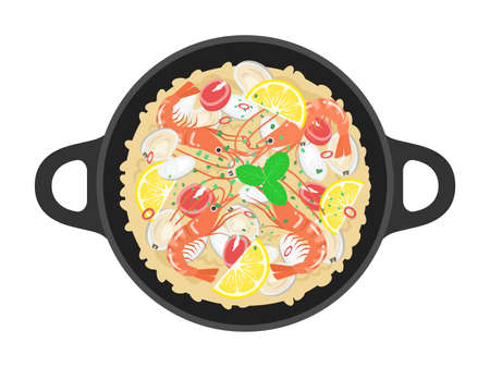 Illustration of the paella of shrimp