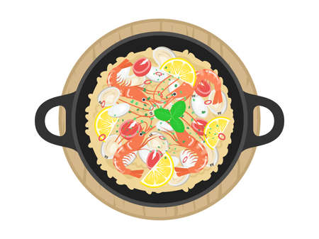 Illustration of the Paella of shrimp Ilustrace