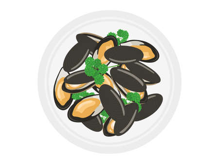 Illustration of mussels on a plate  イラスト・ベクター素材