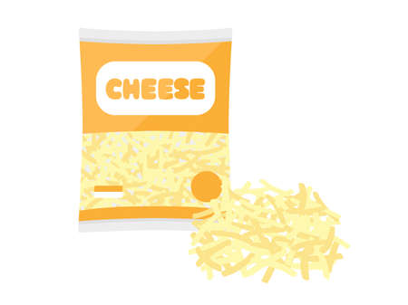 Illustration of melting cheese in a bag