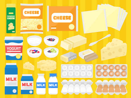 Illustration set of dairy products
