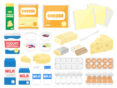 Illustration set of dairy products such as cheese and milk