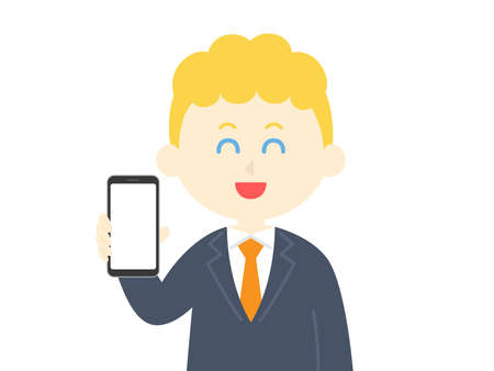 Illustration of a white man on a smartphone screen Ilustrace
