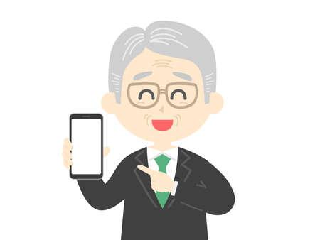 Illustration of an elderly man on a smartphone screen