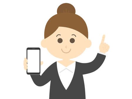 Illustration of a woman on a smartphone screen Vettoriali