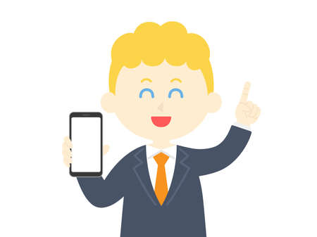 Illustration of a white man on a smartphone screen Vettoriali