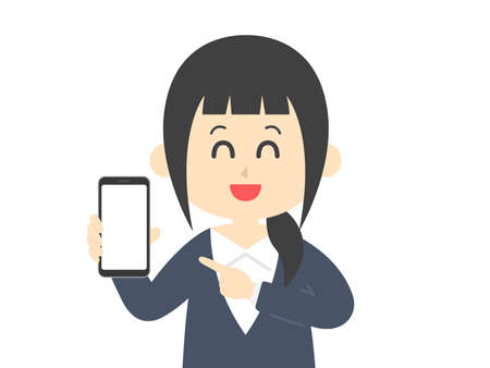 Illustration of a woman on a smartphone screen Ilustrace