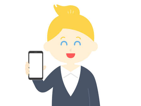 Illustration of a white woman on a smartphone screen Ilustrace