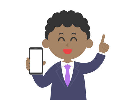 Illustration of a black man on a smartphone screen