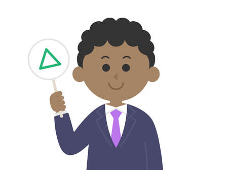 Illustration of a black man answering a quiz