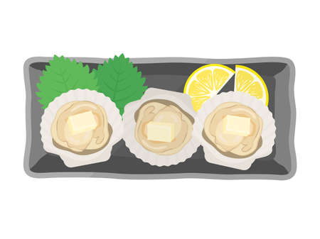 Scallop butter-grilled illustration