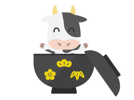 Illustration of the character of the cow in the bowl