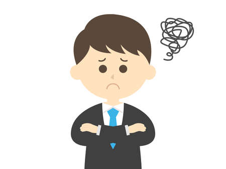 Illustration of a businessman who worries