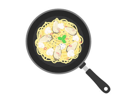 Illustration of oyster pasta cooked in a frying pan