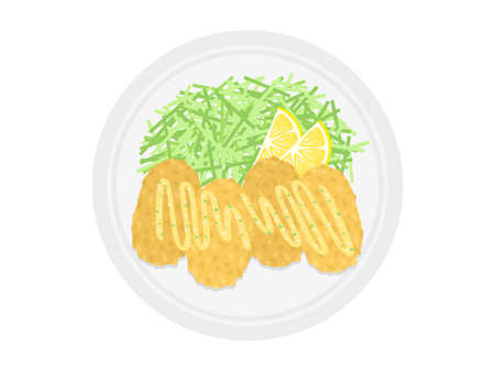 Illustration of oyster fries on a plate