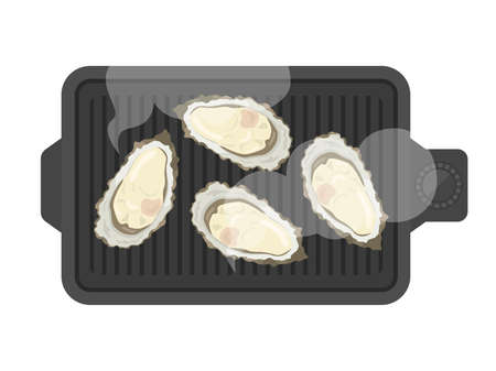 Illustration of oysters baked on a hot plate