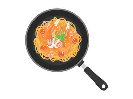 Illustration of crab pasta cooked in a frying pan
