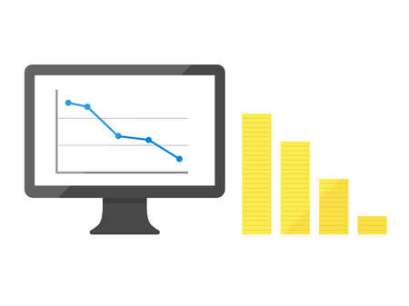Illustration of a line chart displayed on a monitor