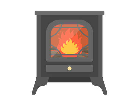 Illustration of a fireplace with a fire