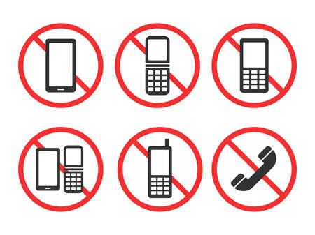 Phone Ban Icon Set Vektoros illusztráció