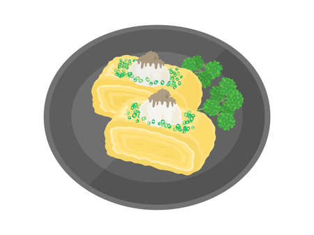 Illustration of fried egg with grated daikon radish Ilustração