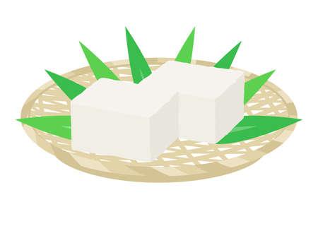 Illustration of tofu on a monkey  イラスト・ベクター素材