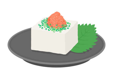 Illustration of tofu with Mentako on it