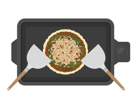 Illustration of okonomiyaki baked on a hot plate