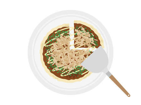 Illustration of okonomiyaki on a plate