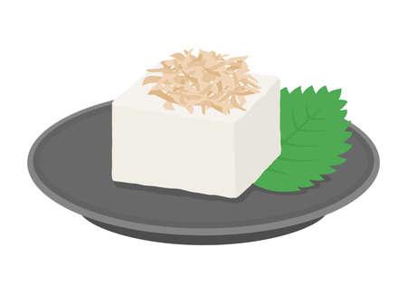 Illustration of tofu with katsuobushi on it