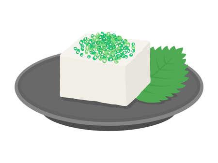 Illustration of tofu with leeks on it