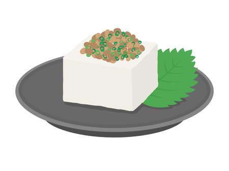 Illustration of tofu with natto on it  イラスト・ベクター素材