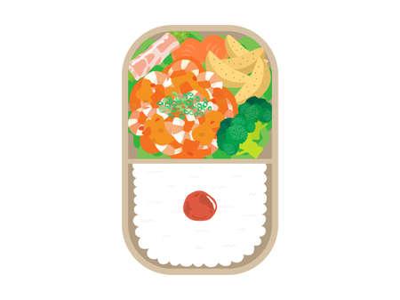 Illustration of shrimp chili bento