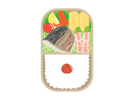 Illustration of a salt-grilled bento of salmon