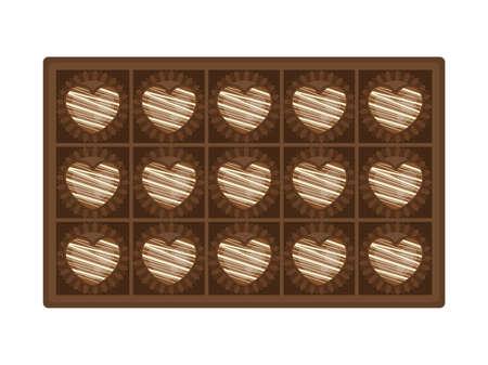 Illustration of heart-shaped chocolate in a box Illusztráció