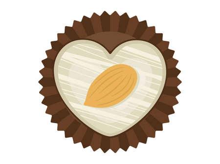 Heart shaped white chocolate illustration