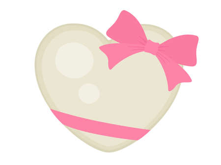 Illustration of heart-shaped chocolate with ribbon