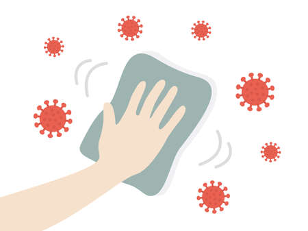 Illustration of wiping and cleaning antivirus
