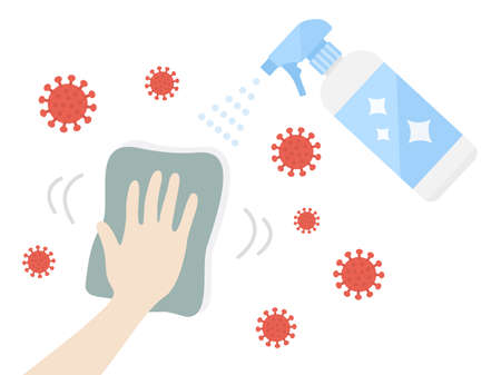Illustration of wiping and cleaning with disinfection spray