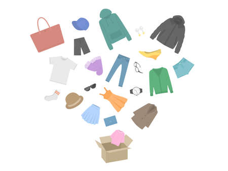 Illustration of apparel goods jumping out of cardboard