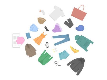 Illustration of apparel goods jumping out of smartphone screen Vektorgrafik
