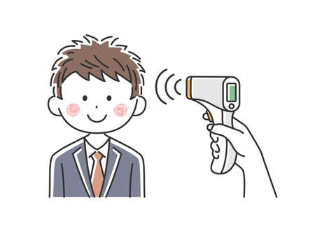 Illustration of Japanese businessman being warmed by infrared thermometer