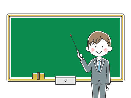 Illustration of a Japanese male teacher inging a class Illustration