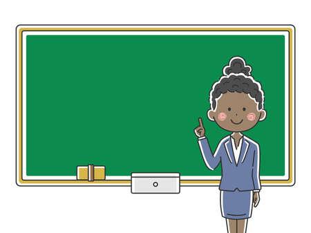 Illustration of a black female teacher inging a class