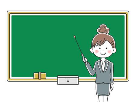 Illustration of a Japanese female teacher inging a class Illustration