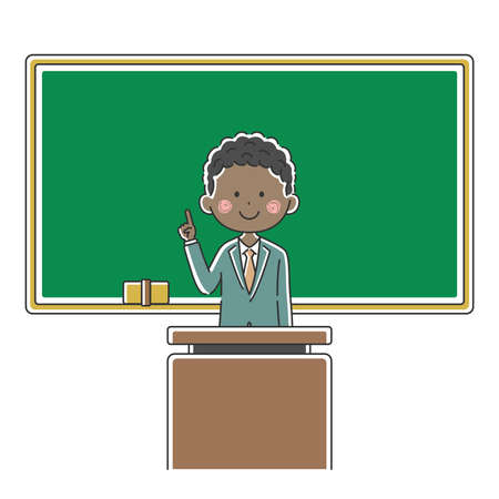 Illustration of a black male teacher inging a class
