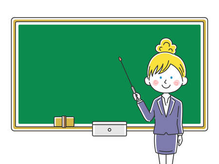 Illustration of caucasian female teacher inging class