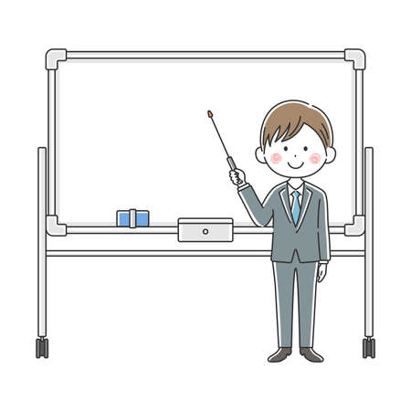 Illustration of a Japanese doctor explained on a whiteboard Illustration