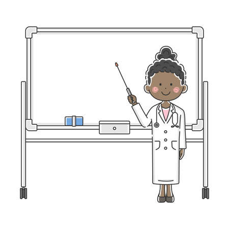 Illustration of a black female doctor explained on a whiteboard