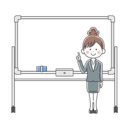 Illustration of Japanese businesswoman explained on whiteboard Vektoros illusztráció
